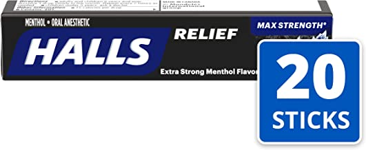 Halls Extra Strength Intense Cool Cough Drops - with Menthol - 180 Drops (20 sticks of 9 drops)