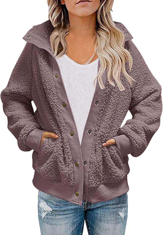Women's Fuzzy Fleece Coat Jacket Faux Shearling Teddy Jacket Button Oversized Outerwear with Pocket Warm Winter Coat