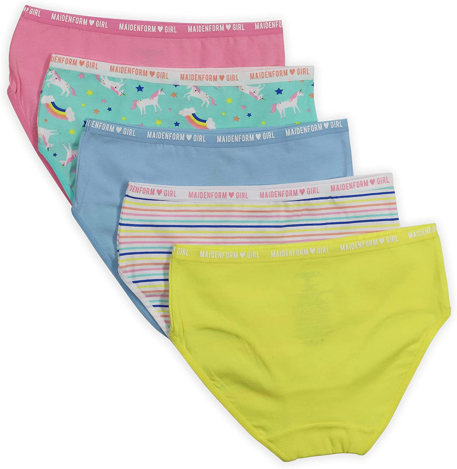 Maidenform Girls' Cotton Ranking integrated 1st Cheap mail order sales place Brief Panties 5 Pack