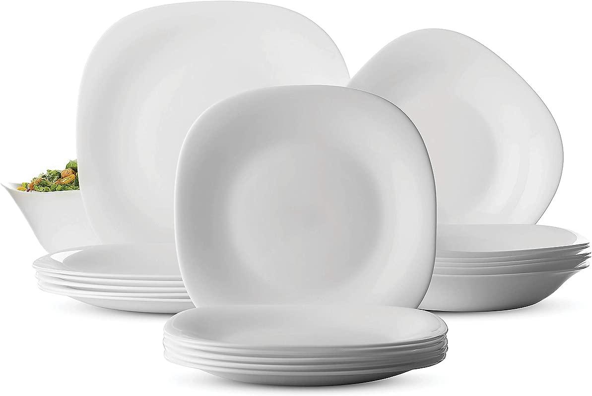 Bormioli Rocco PARMA 19 Piece Dinnerware Set Serving For 6 Includes 6x7 Dessert Plates 6x8 Soup Bowls 6x10 Dinner Plates And 1 Large Salad Bowl Classic Modern Design Fine Opal Glass White