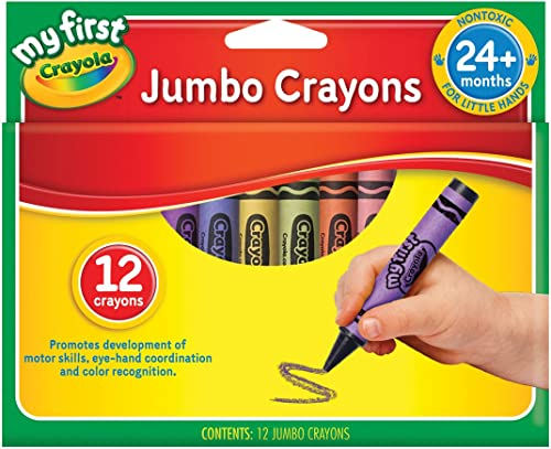 Crayola My First Jumbo Crayons 12 Pack, Assorted Bold Colours, Designed for Little Hands, Creative Play, Perfect for ...