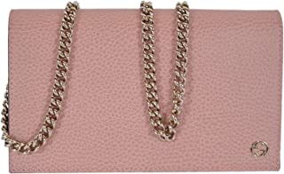 Women's Leather Interlocking GG Crossbody Wallet Purse (466506/Soft Pink)