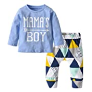 Baby Boys Mama's Boy Long Sleeve T-Shirt Tops Geometric Pants Clothes Set (70(6-9 Months))