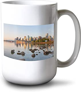 Vancouver, BC, Canada - Skyline from Stanley Park at Sunrise - Photography A-93925 (15oz White Ceramic Mug)