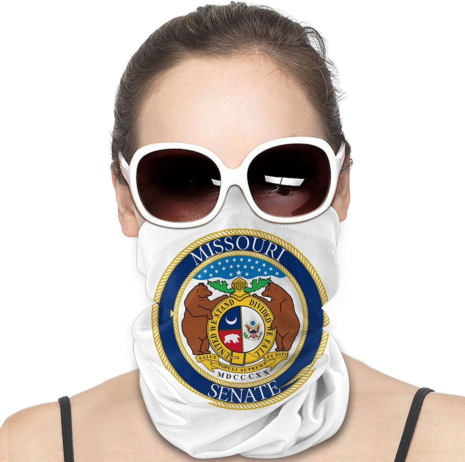 Seal of the State of Missouri Round Neck Gaiter Bandnas Face Cover Uv Protection Prevent bask in Ice Scarf Headbands Perfect for Motorcycle Cycling Running Festival Raves Outdoors