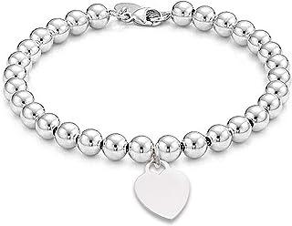 Devin Rose Sterling Silver Beaded Heart Charm Bracelet for Women