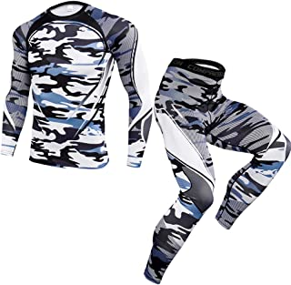 BiuBuy Men's Elastic Fitness Long Sleeve Fast Drying Tops Long Pants Sports Tight Suit