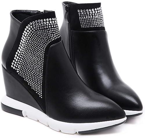 HBDLH Chaussures pour femmes 9Cm Talon Haut Martin Bottes Pointues épaisses Bottes Mode Unique en Talons noir Trente - Cinq
