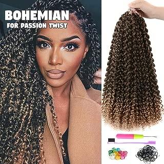 7Pcs Passion Twist Hair 18 Inch Long Bohemian Braids for Passion Twist Crochet Braiding Hair Itch Free Synthetic Fiber Natural Hair Extension (18