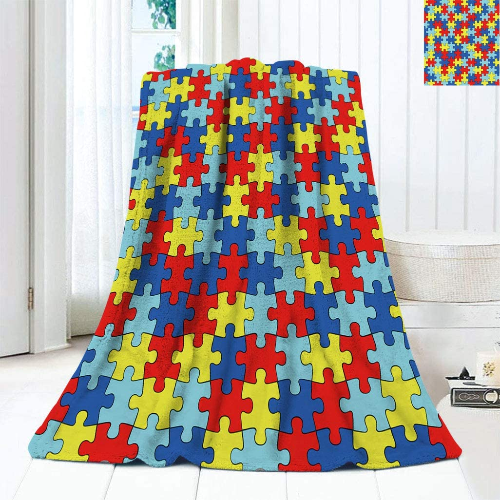 Autism Awareness Puzzle Pieces Wrinkle Resistant Quality inspection Blankets cheap Home