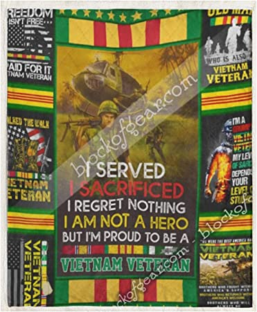I Served I Sacrificed I'm Proud To Be A Vietnam Veteran Sofa Fleece Blanket Gift