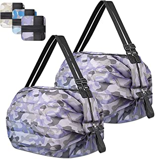 Reusable Grocery Shopping Bag Foldable,2 pcs Waterproof Weekend Overnight Travel Tote Bags Large Storage with Zip for Pic...