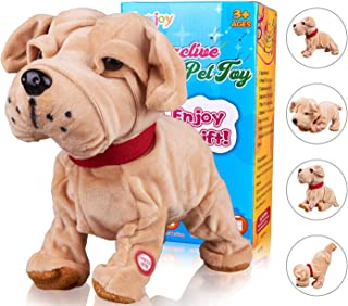 Marsjoy Sharpei Robot Toy Dog, Electronic Dog Toy, Plush Stuffed Animal Dog Toy , Interactive Puppy Plush Animated Dog, Touch Control, Robot Dog for Toddler Boys Girls Kids Length 12