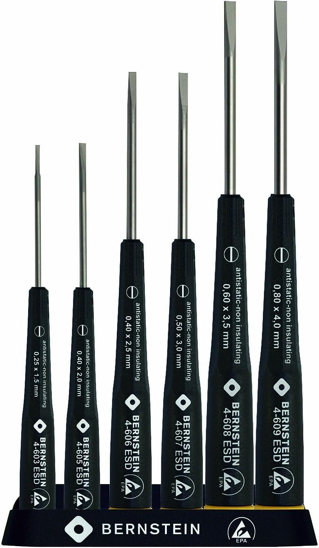 Bernstein Werkzeug GmbH 4-610 6-teiliger Satz Schlitz-Schraubendreher im Ständer, ableitfähig B00DTSL1GC | Qualitätsprodukte
