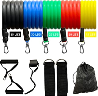 TMS 11 Pcs Yoga Pilates ABS Exercise Gym Fitness Tube Workout Resistance Bands Set