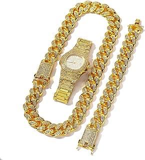 Reloj de Lujo para Hombres Reloj de Moda Hip Hop con Collar