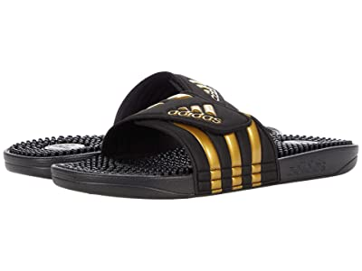 adidas adissage (Core Black/Gold Metallic/Core Black) Shoes