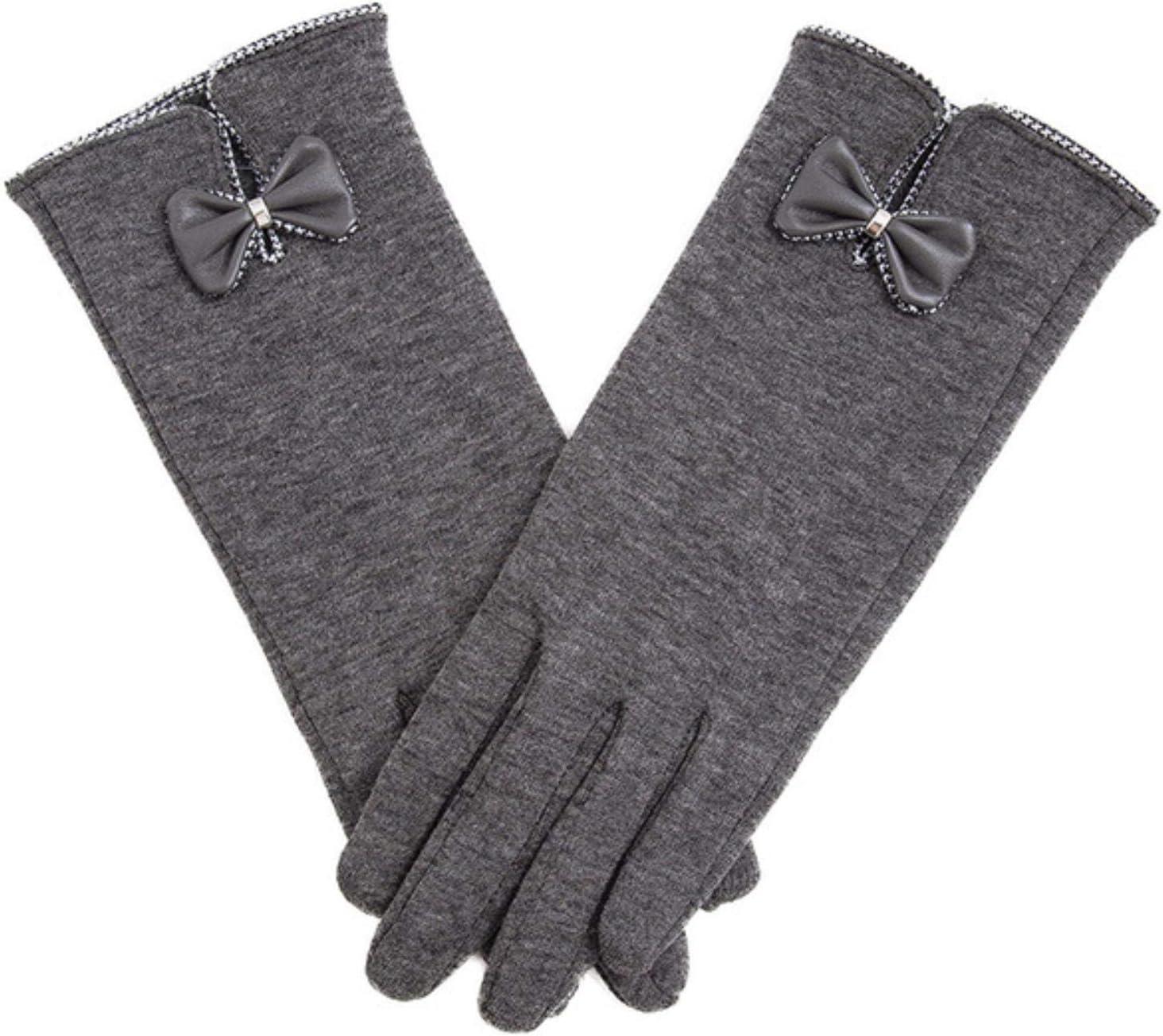 Fashion Elegant Women Touch Screen Glove Winter Female Lace Warm Cashmere Bow Full Finger Mittens Wrist