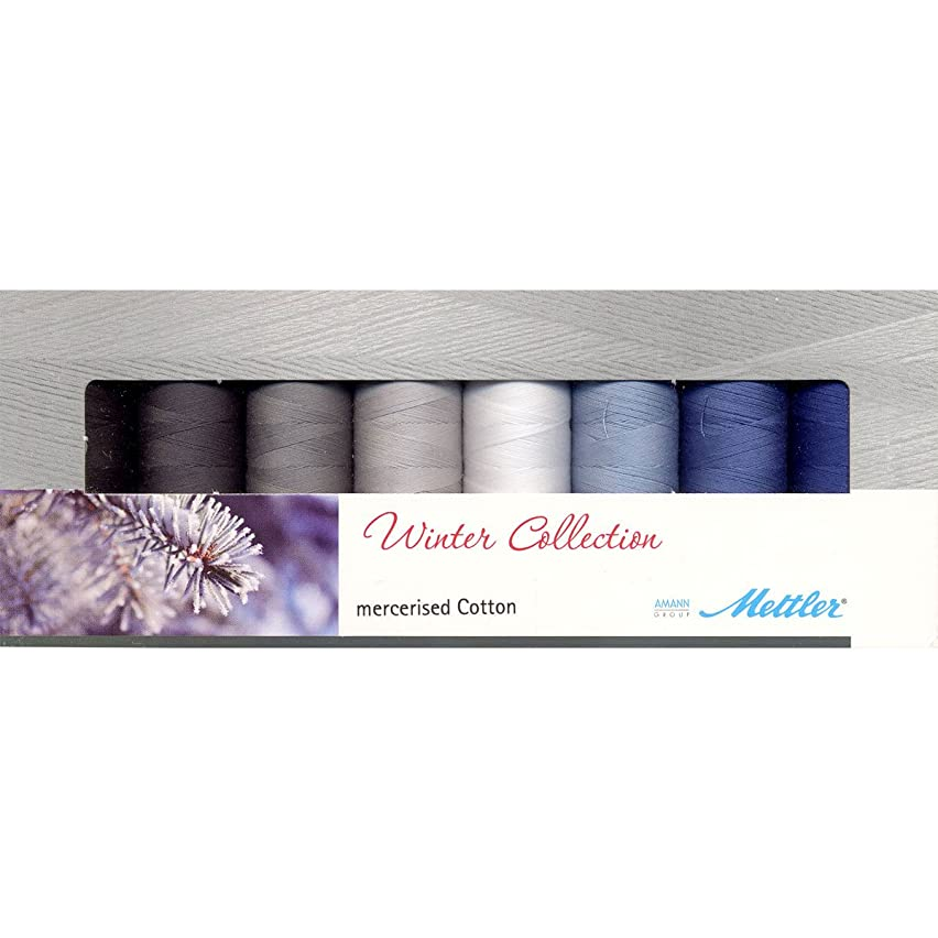 Mettler Thread Silk Finish 100% Mercerized Cotton Sewing Set; 8 Spools Winter Colors SF8Winter
