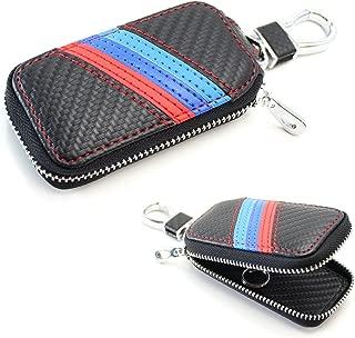 iJDMTOY (1 M-Colored Stripe Carbon Fiber Pattern Leather Key Holder Cover Wallet for BMW Fans