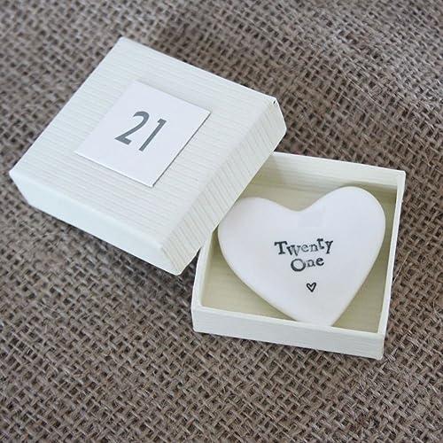 East Of India Twenty One White Porcelain Heart Dish Gift