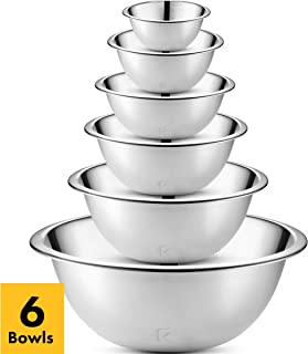 Klee 6-Piece Premium Stainless Steel Mixing Bowls with Laser Etched Measuring Lines (Set of 6)