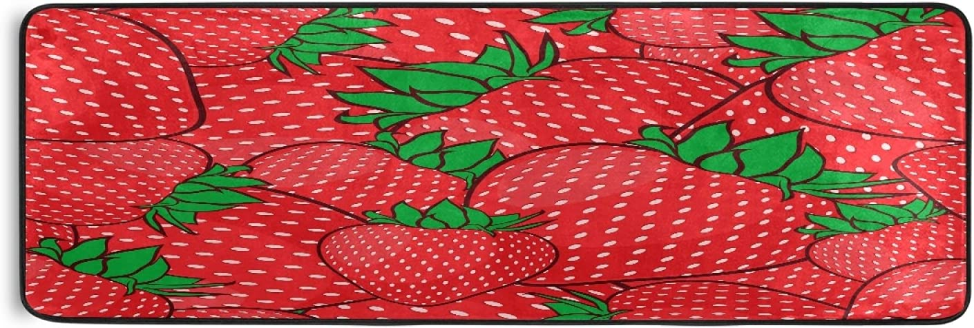 Strawberries Now on sale Leaves Runner Rug Red Kitche Farmhouse Fresh Sale item Fruits