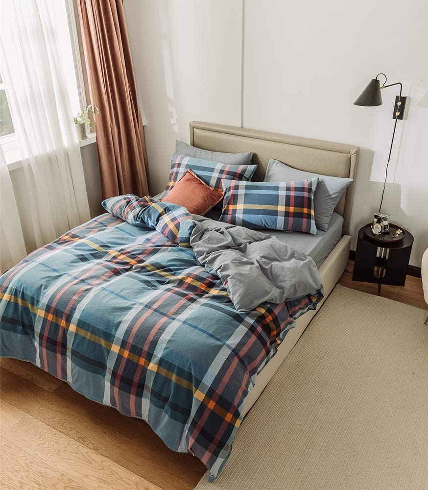 Deep Sleep Home 100% Washed Cotton, Soft and Simple Plaid Style 3pc Duvet Cover Set, Zipper Close,Machine Washable, Inside Corner Ties (King, Maggie)