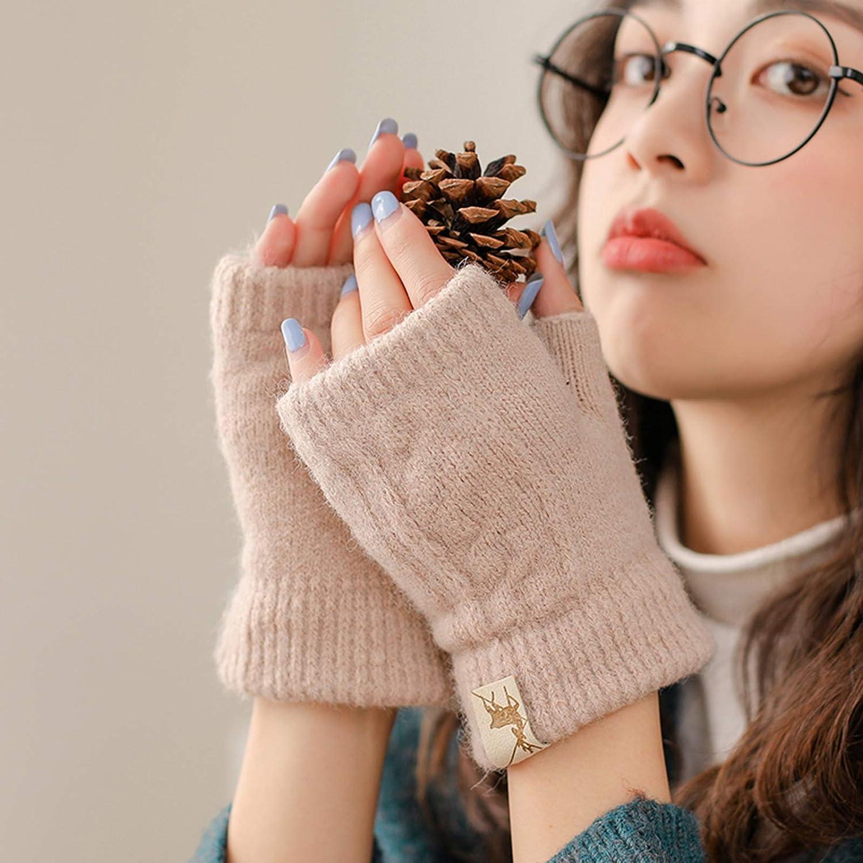 Gloves Half-Finger Gloves Women Winter Fingerless Plus Velvet Thick Cold-Proof Knitted Woolen Gloves (Color : Beige)