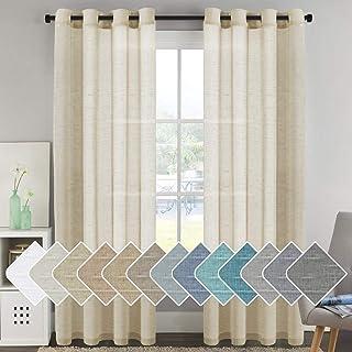 "H.VERSAILTEX Elegant Natural Linen Curtain Panels Energy Efficient Semi - Sheers Linen Curtains/Nickel Grommet Window Treatments Panels/Drapes (Set of 2, Butter, 52"" by 96"" Inch)"