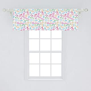 Lunarable Sketch Window Valance, Exploring The Joyful Fantasy World of Children Colorful Drawing with Happy, Curtain Valance for Kitchen Bedroom Decor with Rod Pocket, 54