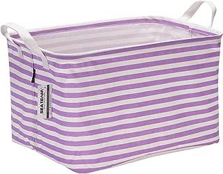 Sea Team Collapsible Rectangular Canvas Fabric Storage Bin Shelf Basket Organizer for Nursery & Kid's Room, 16.5 x 11 x 9.8 inches, Purple Stripe