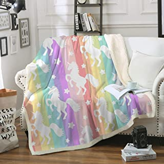Sleepwish Unicorn Blankets and Throws Rainbow Unicorn Sherpa Blanket Super Soft Cozy Plush Fleece Blanket Fantasy Girls Room Decor, Gallop Rainbow,Throw (50