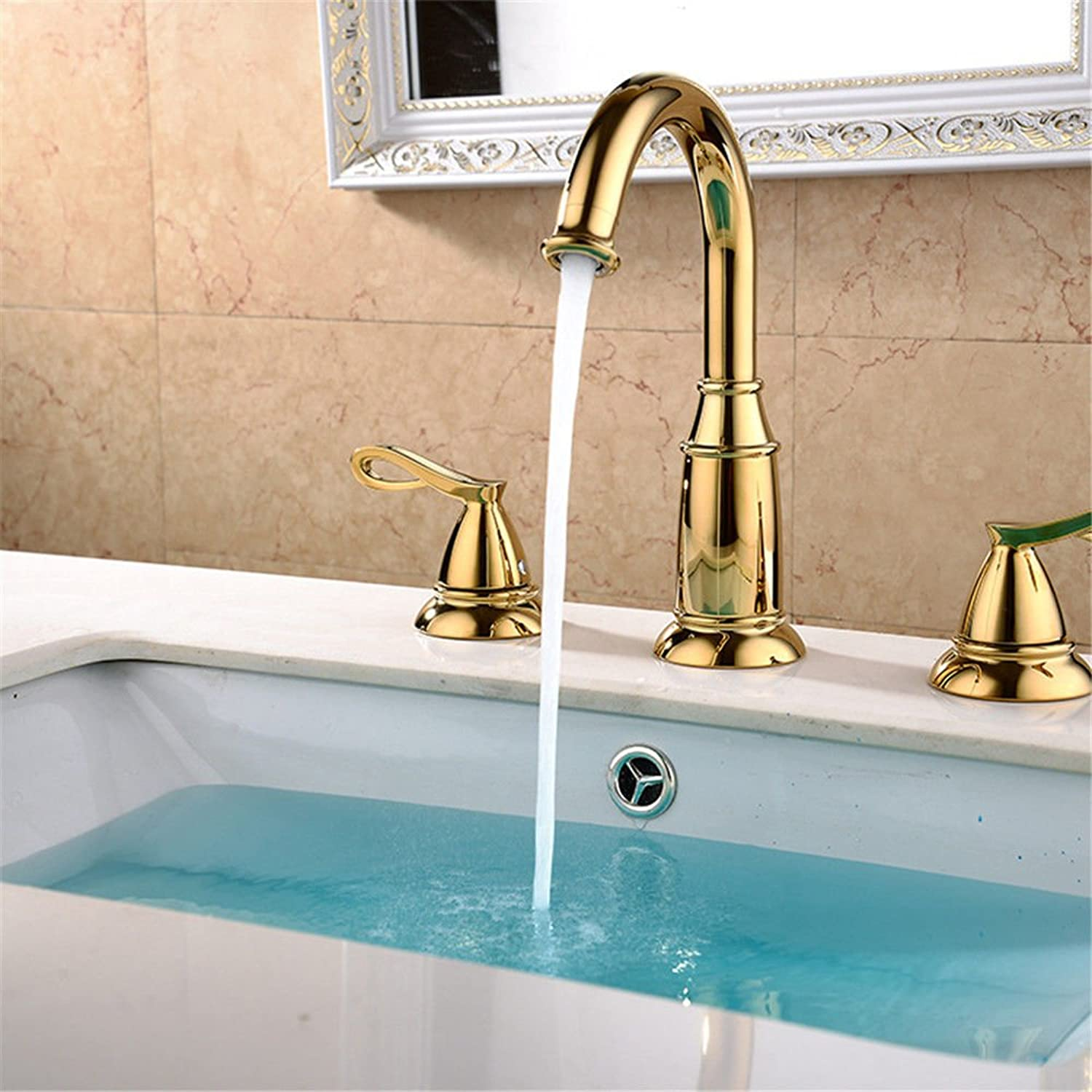 Lalaky Taps Faucet Kitchen Mixer Sink Waterfall Bathroom Mixer Basin Mixer Tap for Kitchen Bathroom and Washroom Hot and Cold Single Hole Double Handle gold Copper Antique Seat