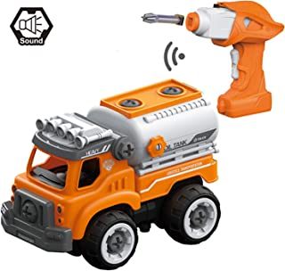 POP Mart Take Apart Toys Oil Tank Truck Toy RC Car Remote Control Oil Transport DIY Vehicle Orange Assemable Car Toy Early Educational Toddler Toy Set Powered Car Toys for Children Boys Girls Kids Chr