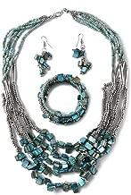 Shop LC Delivering Joy Handmade Coastal Stainless Steel Earrings Wrap Bracelet Multi Strand Necklace 22