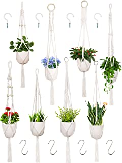 8 Pieces Macrame Plant Hangers with 4 S Hooks and 4 Screw Hooks, Handmade Cotton Rope Hanging Planters Set Flower Pots Hol...