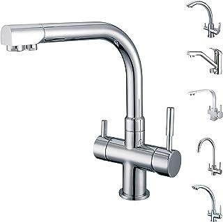 smardy DUO301 Grifo de Cocina 3 Vias, 360° Giratorio para osmosis inversa Agua Purificada (RO) Mangueras Conexión 3/8