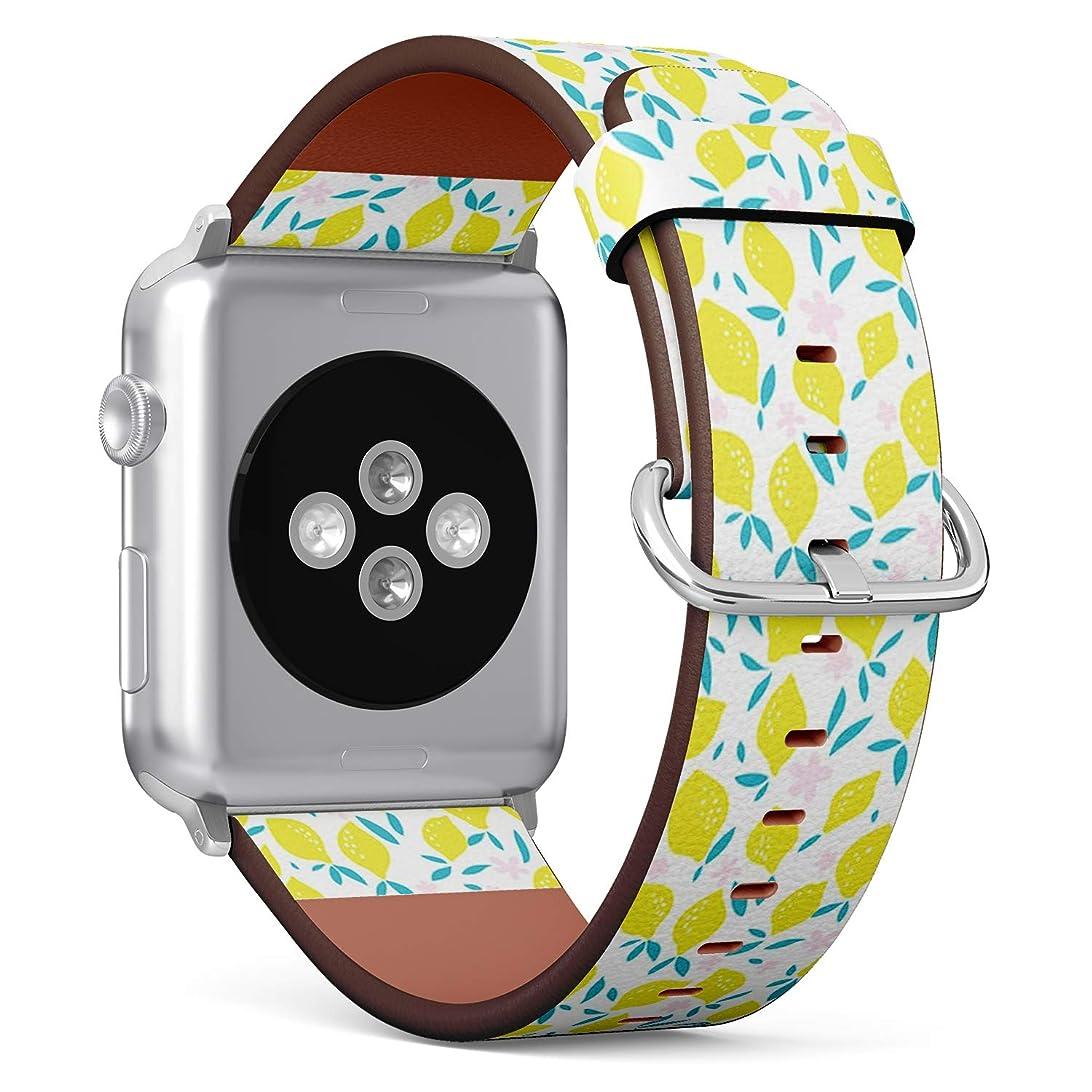 日の出定常パズルコンパチブル Apple Watch iWatch 42mm & 44mm - 本革レザーストラップ, 向けのバンド交換ストラップです コンパチブル アップルウォッチ バンド (レモンの葉)