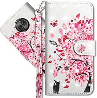 Moto E5 Play Wallet Case, Moto E5 Cruise Premium PU Leather Case, COTDINFORCA 3D Creative Painted Effect Design Full-Body Protective Cover for Motorola Moto E5 Play. PU- Tree Cat