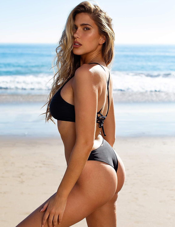 RELLECIGA Women's Strappy Triangle Bikini Top with Cheeky Brazilian Cut Bikini Bottom