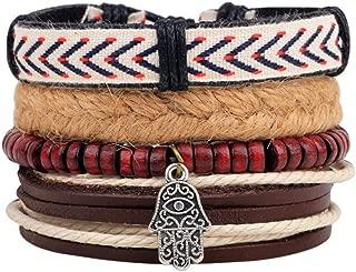 Winter's Secret Buddha Hand Pendant Wood Beaded Totem Hand Braided Multi Strand Four-piece Suit Bracelet