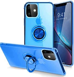IPhone 11 Case, Case with 360 Degree Rotating Button Bounce Ring Kickstand and Magnetic for iPhone 11 6.1 Inch, Blue