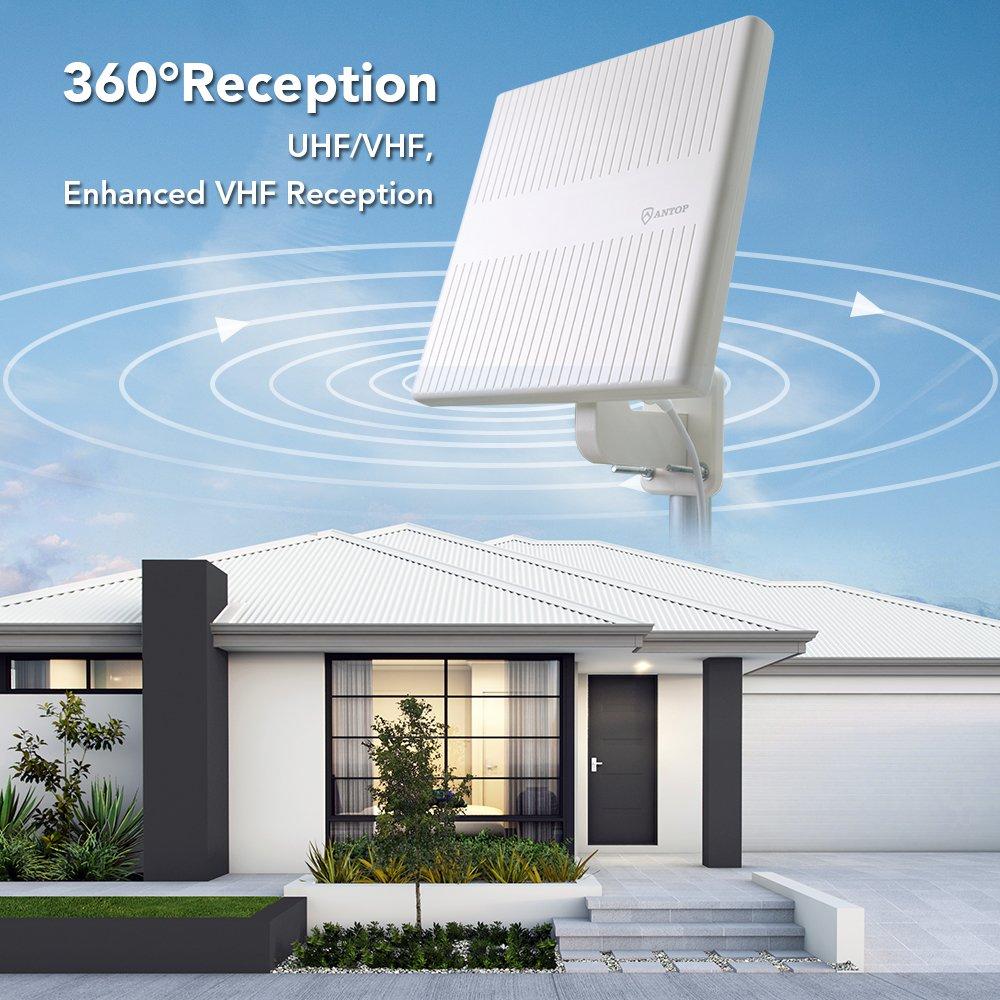 Antop TV Antenna - Amplified HDTV Outdoor Indoor Antenna