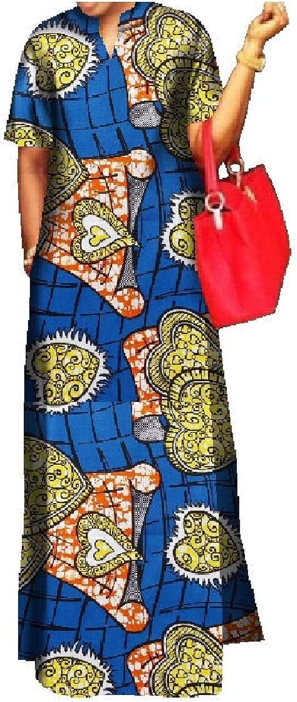 Mfasica Women African Comfort Graphic Oversize Long Maxi Party Dress