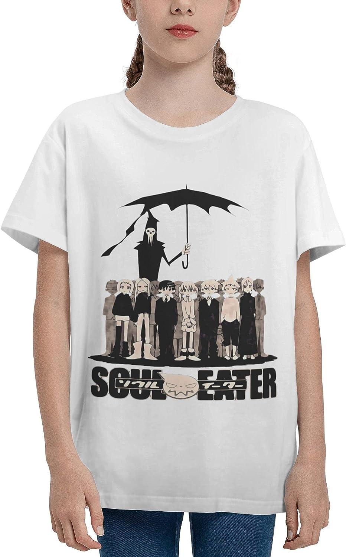 JarBruan Unisex Kid Manga Anime Boy Girls Tee Short Sleeve Cotton Cartoon T-Shirts for Child School White