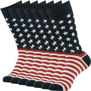 Men's Dress Socks Casual Blend Fashion Design Mid Calf Fun Dress Crew Socks,7 Pairs