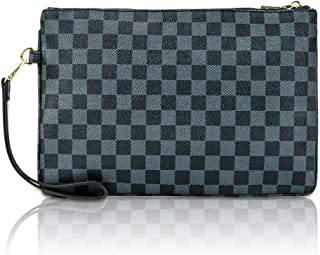 Designer Clutch Purses for Women, Envelope Checkered Clutches Bag, Women Wristlet Handbag