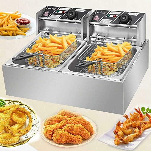discount Pro Commercial Stainless Steel Dual Tanks 12L Baskets Lid online sale Covers 5000W Electric Deep Fryer w/ Scoop Pads for Countertop Home Restaurant outlet online sale Appliance Heavy Duty online sale