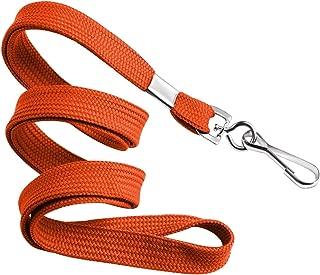 MIFFLIN Flat Lanyards for ID Badges (Orange, 36 Inch, 25 Pack), Comfortable Neck Straps